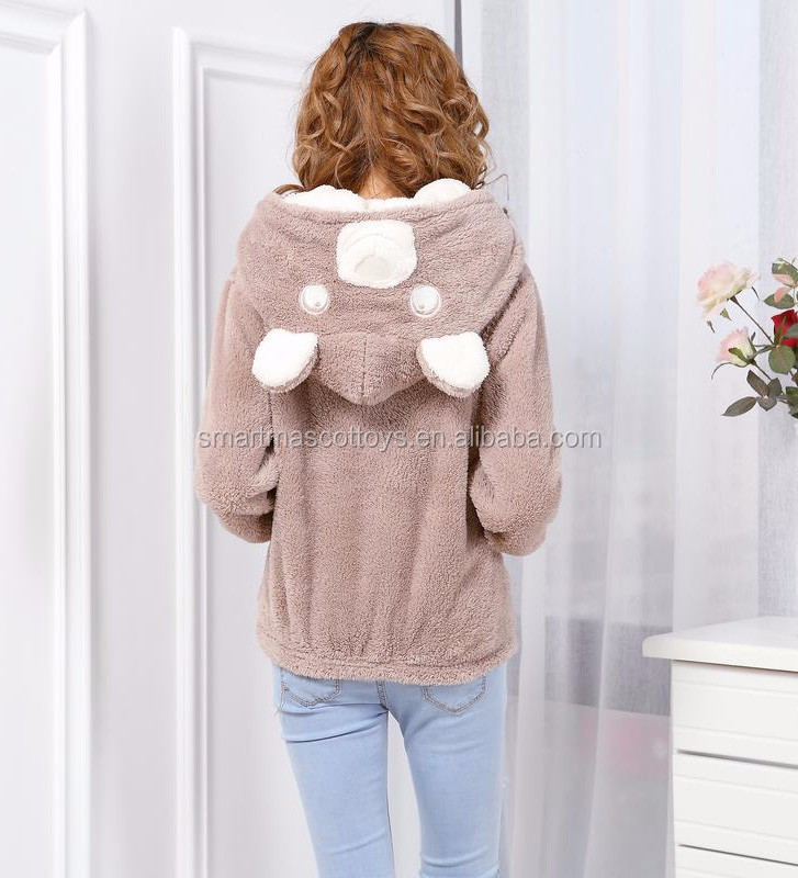wholesale men and woman plush hoodie for winter brown bears adult animal hoodie