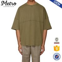 Khaki Raglan Sleeve Crew Neck Raw T shirt for Men