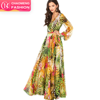 3029# New Wholesale Long Sleeve Leaves Floral Print Maxi Dresses Women Summer Casual Boho Chiffon Bohemian Dress Plus Size