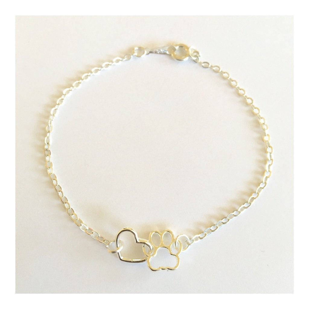 Get Quotations Annakjewels Dog Paw And Heart Tiny Charm Bracelet Print