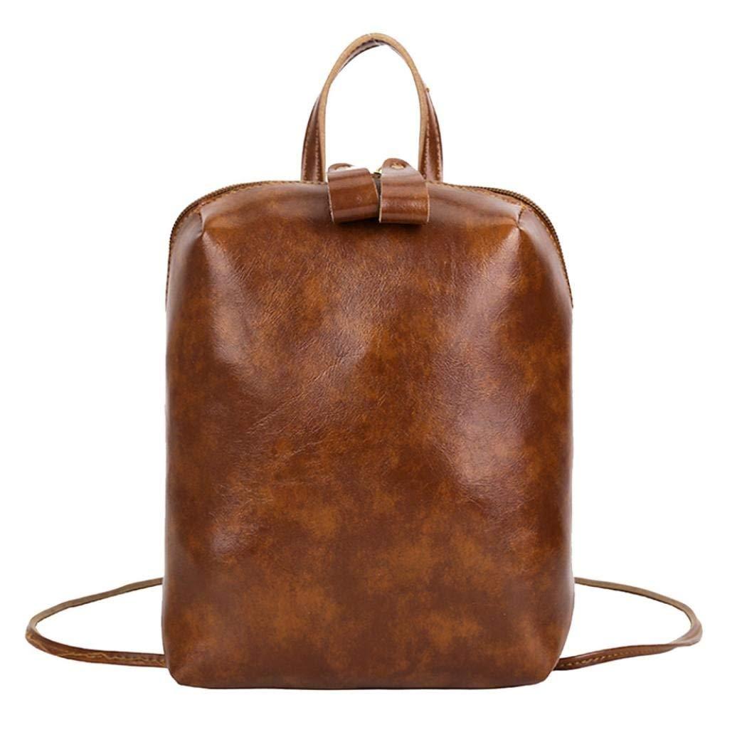 Sunshinehomely Vintage Pure Color Leather Backpack Student School Bag Shoulder Bag for Women Girls