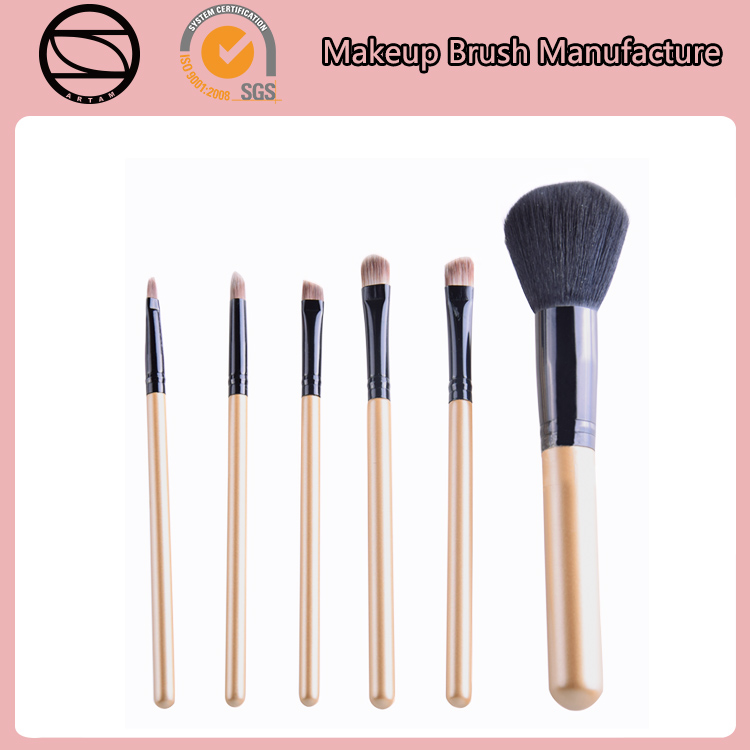 6pce high quality golden handle with goat hair makeup brush set