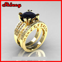 2.88 carat 14k yellow gold plating sapphire cz paved sterling silver gold wedding ring