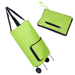 Folding market four wheel luggage vegetable shopping trolley bag