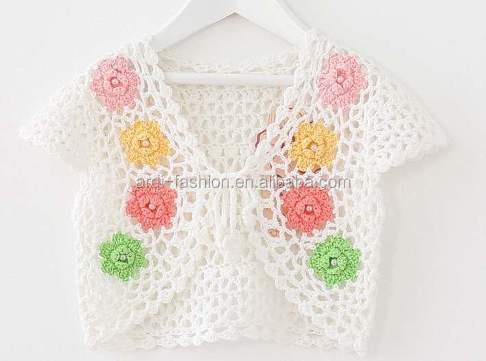 2015 2016 baby kids flower handmade crochet shrug sweater shawls
