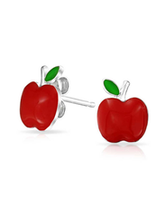 Homshin Jewelry Kids Red Enamel Apple 925 Sterling Silver Earrings Stu