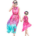 Fashion Rose Mother Daughter Matching Dress Family Clothes Girls And Mom Dress O neck Sleeveless Long