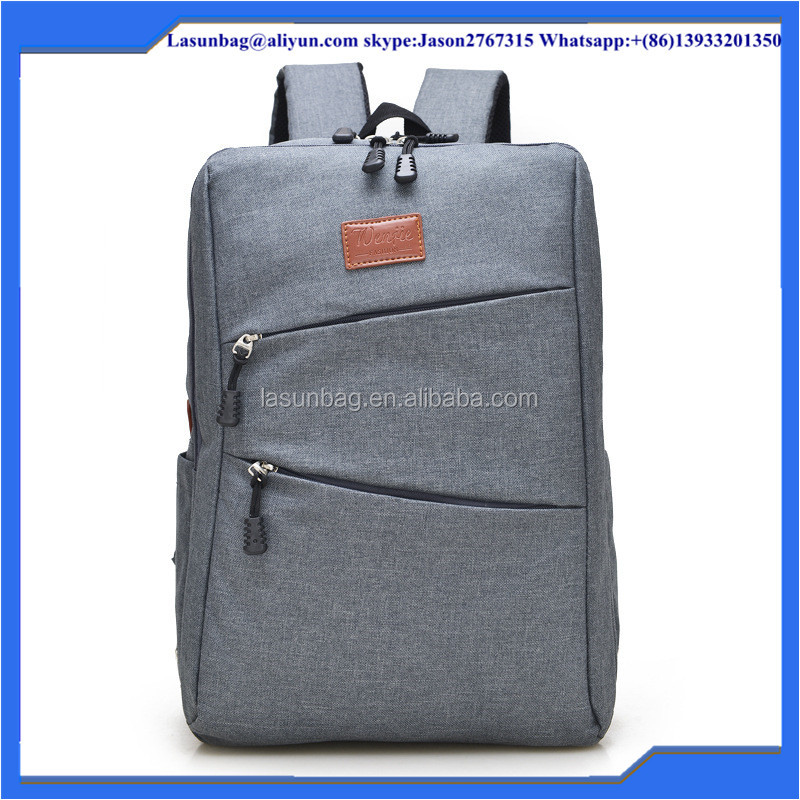 2014 New Hot Grey Canvas Nylon Fashion Girls School Backpack Bags Free Shipping