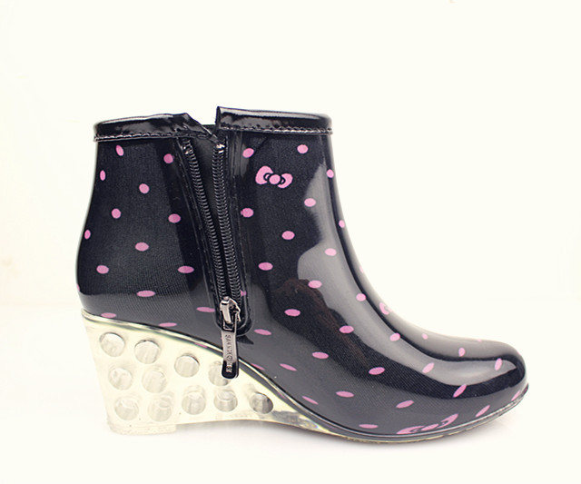 f12e7d3a0630 Get Quotations · Summer style Female Ankle High Fashion Women Wedge Rain  Boots Heel Boots Rain Waterproof Wellies Boots