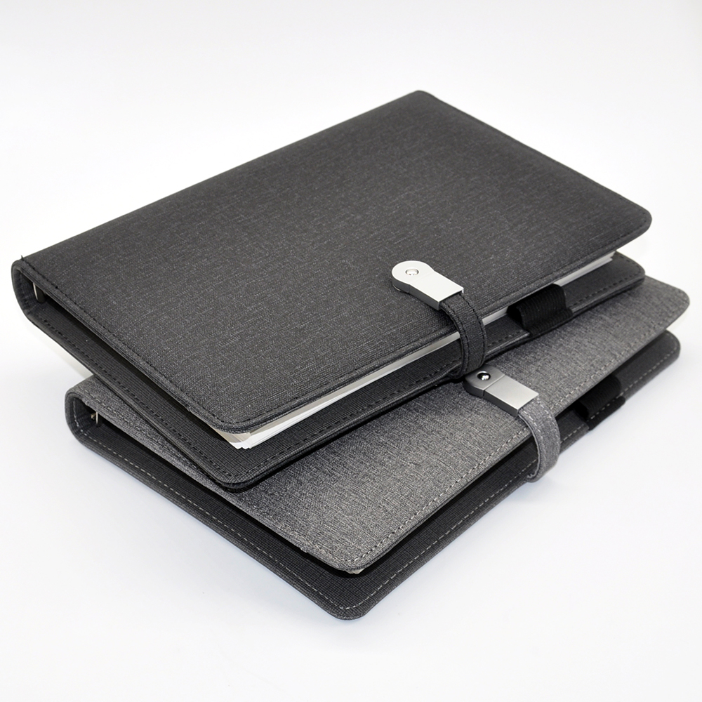 Schwarz custom leder business-organizer notebook tagebuch mit usb power bank 8000 mah