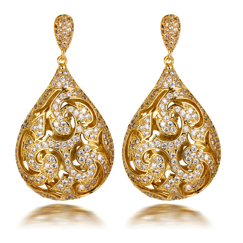 Big Drop Earrings for women luxury earring gold plated ...
