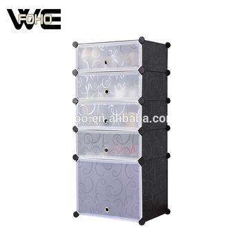 Freestanding Plastic Modular Shoe Storage Cubes Can Hold 10 Pairs Shoes