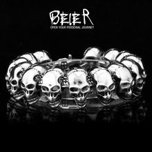 Wholesale Fashion Men's Heavy Metal Man's Punk Biker Skull Round Bracelet Free Shipping SMTSL03