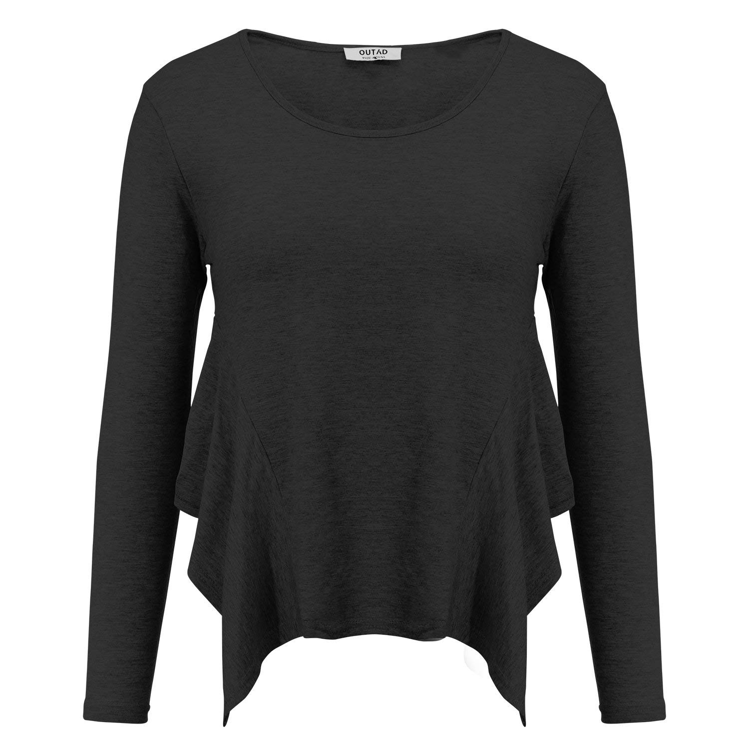 83c25e36092 FISOUL Women's Casual Asymmetrical Hem Tunic T-Shirt Round Neck Long Sleeve  Loose Fit Patched