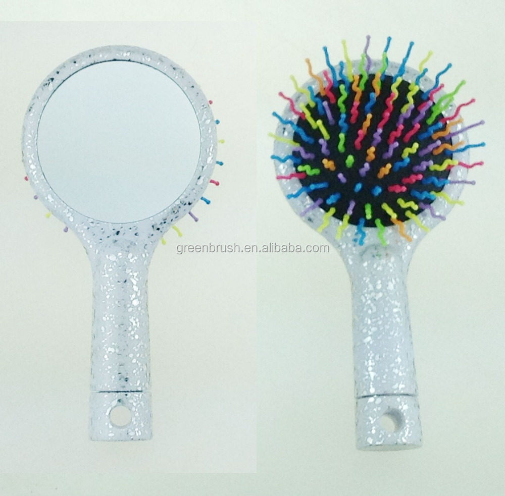 Round silver cuhsion removable handle hair brush