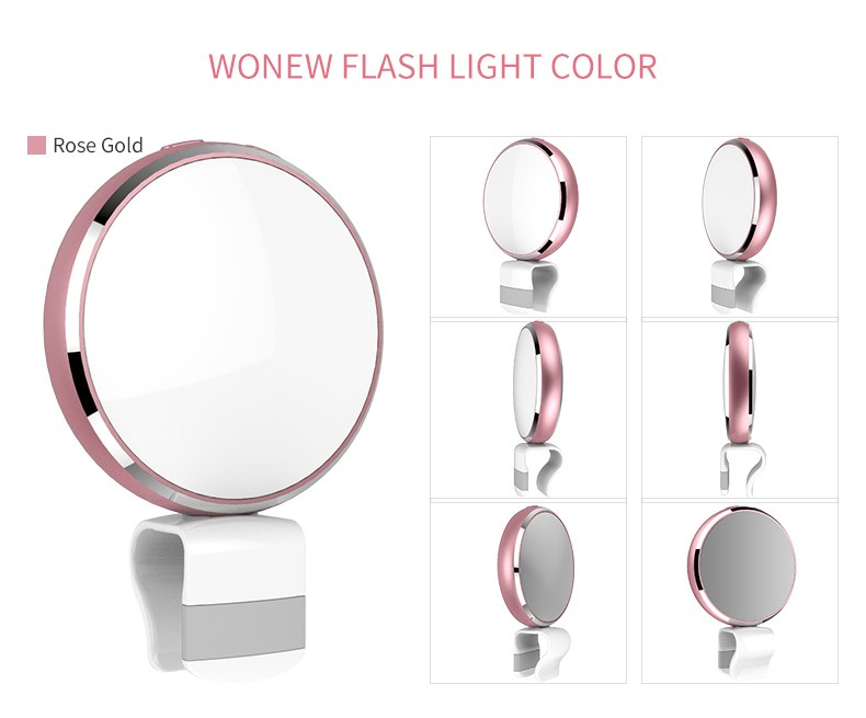 Cellphone seven color rechargeable LEDselfie light ring for Smartphones