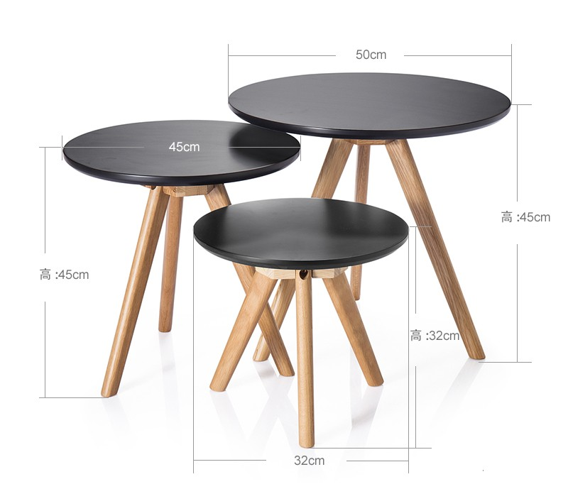 Living Room Furniture Side Table 2016 Modern Coffee Table Round Black Wood  Table
