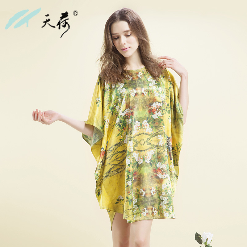 e8befacfcc4 Get Quotations · 2015 New Summer Autumn Nature Silk Pijama Women Batwing  Sleeve Billowing Bottom Floral Printed Silk Nightgown