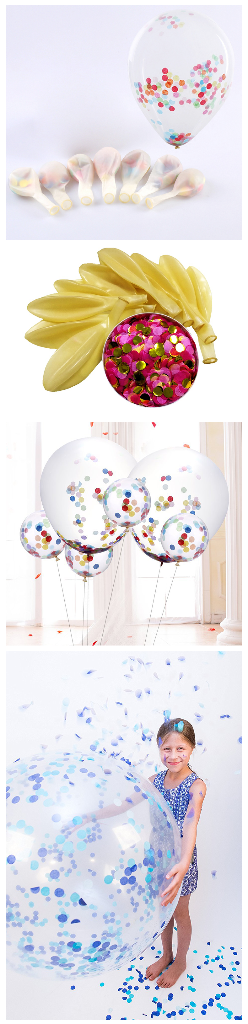 2019 china factory 12inch clear transparent multi color confetti latex balloon for wedding decoration