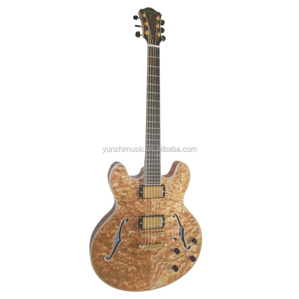 fully handmade burl maple wood hollow body ES335 electric guitar