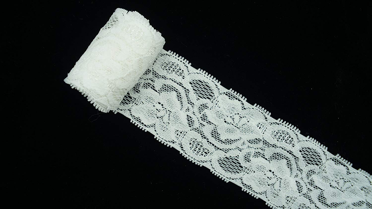 1d39da5c73 Get Quotations · Wide White Sliver Stretch Lace Trim Small Fringe Pattern  for Table Decoration