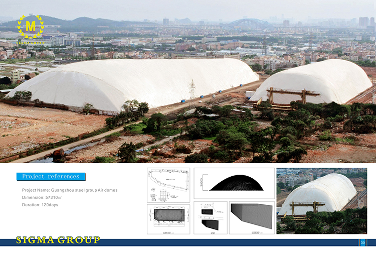 PVDF/PTFE tensile fabric tent with steel structure roof canopy stadium membrane structure