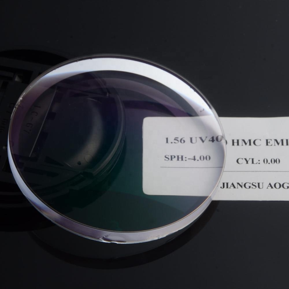 Gold supplier single vision 1.56 UV400 HMC EMI fog mark optical lens