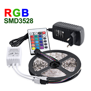 high lumen 24key 5m rgb led strip kit DC12V remote 3A adapter