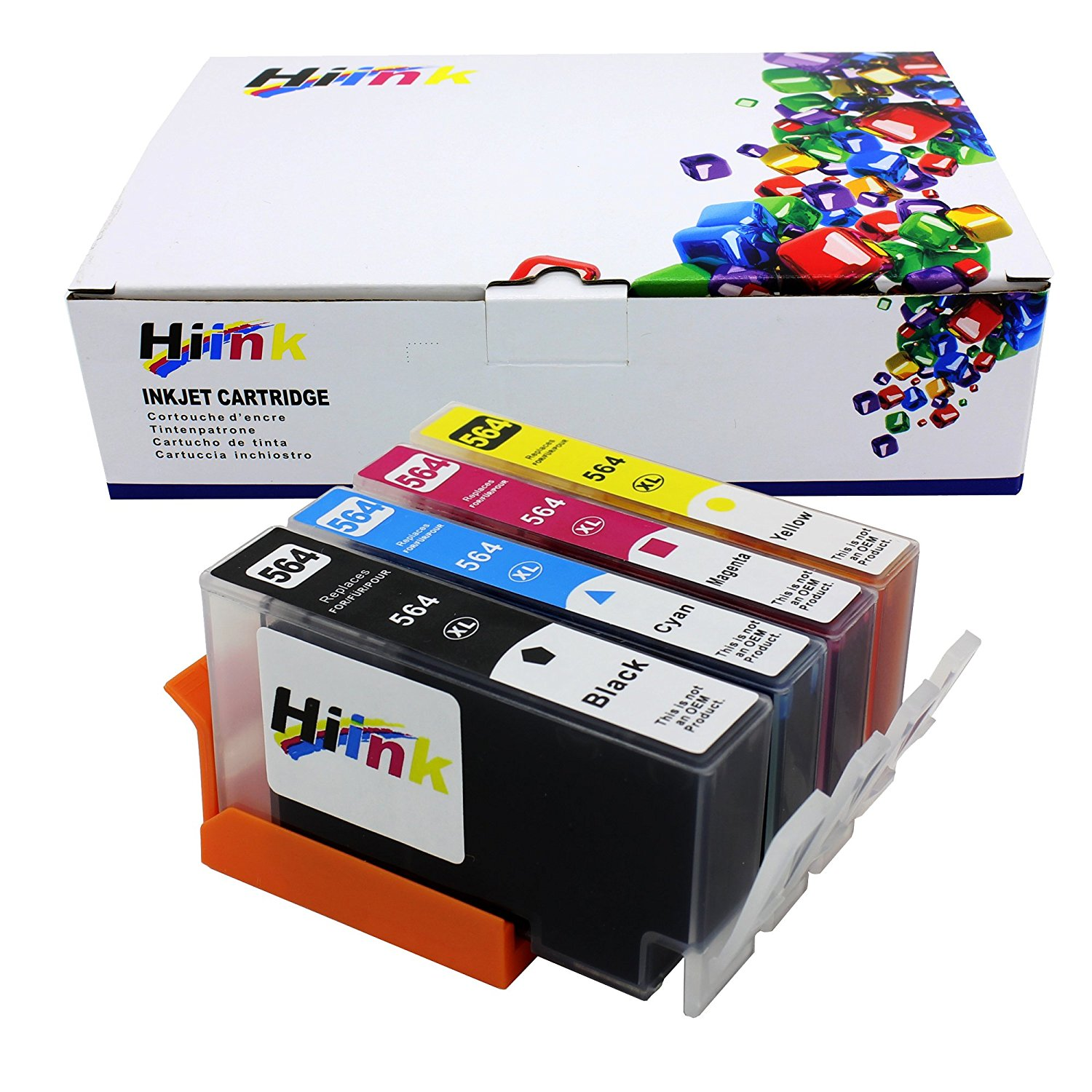 HIINK 4 Pack 564XL Ink Cartridges Replacement for HP 564 ink used in HP Photosmart 5520 6520 7520 5510 6510 7510 7525 B8550 C6380 D7560 Premium C309A C410 Officejet 4620 Deskjet 3520(1B1C1M1Y, 4-Pack)