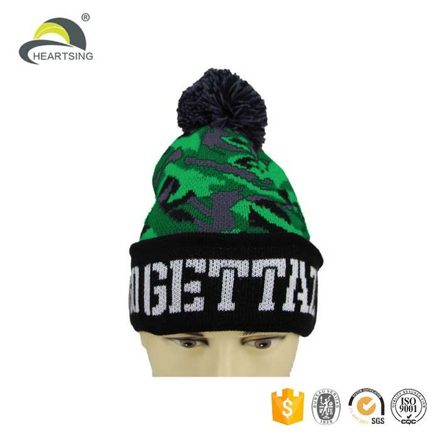 87bc431b948a1 2017 fashion run embroidery camo mans knitted knit beanie hat for men winter
