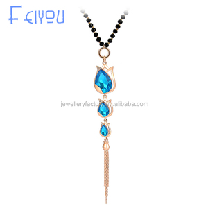 High Quality Handmade Glass Beaded Chain CZ Crystal Stone tulip tassel necklace