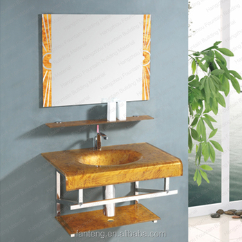 Golden Water Transfer Printing Tempered Glass Basin Wall Mounted Bathroom Units Washbasin