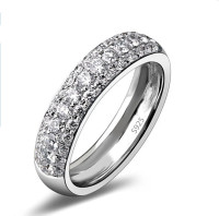 Top quality wholesale men's jewelry genuine plating s925 silver micro pave zircon ring for women men wedding