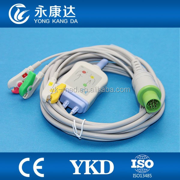 Factory price Compatible 3 leads Hellige ecg cable with IEC clip electrode for SCP844,SCS804, CardioServ,VICOM-sm