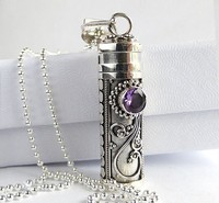 Popular alloy Jewelry amethyst antique perfume bottle pendant for necklace