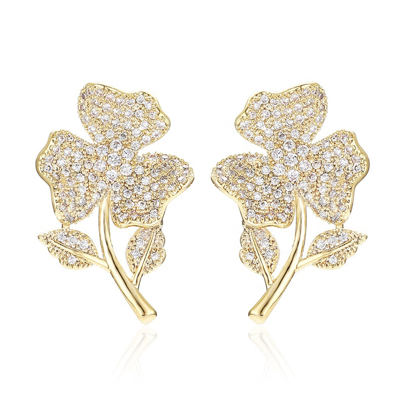 Latest Products High quality <strong>gold</strong> plated zircon <strong>flower</strong> stud <strong>earrings</strong>