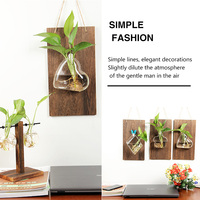 4pcs Wall Mounted Glass Hydroponic Vase Flower Plant Pot with Wooden Plaque Board