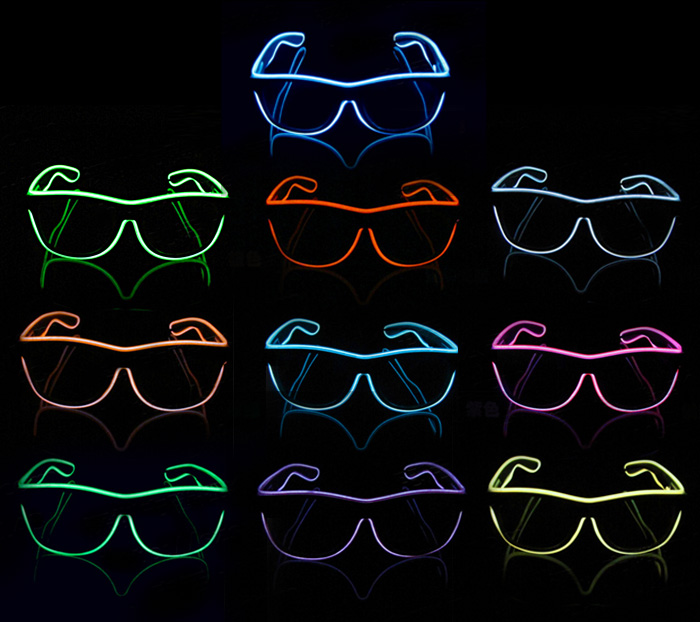 Flydee Party events colorful  led glasses neon EL wire glow glasses