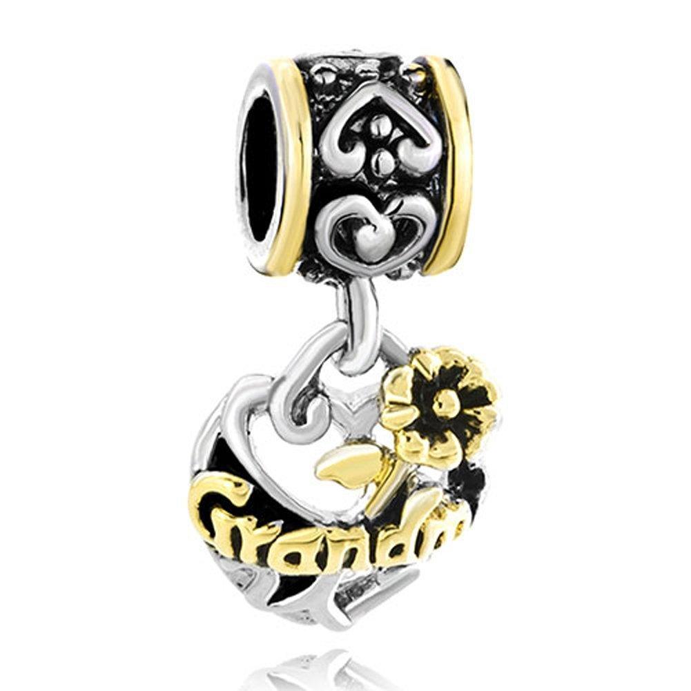 309879ecc ... Jewelry Bead Fits Pandora Bracelet. Get Quotations · Silver Plated Open  Flower Heart Dangle Love Grandma & Aunt & Mom & Sis Charm Fits
