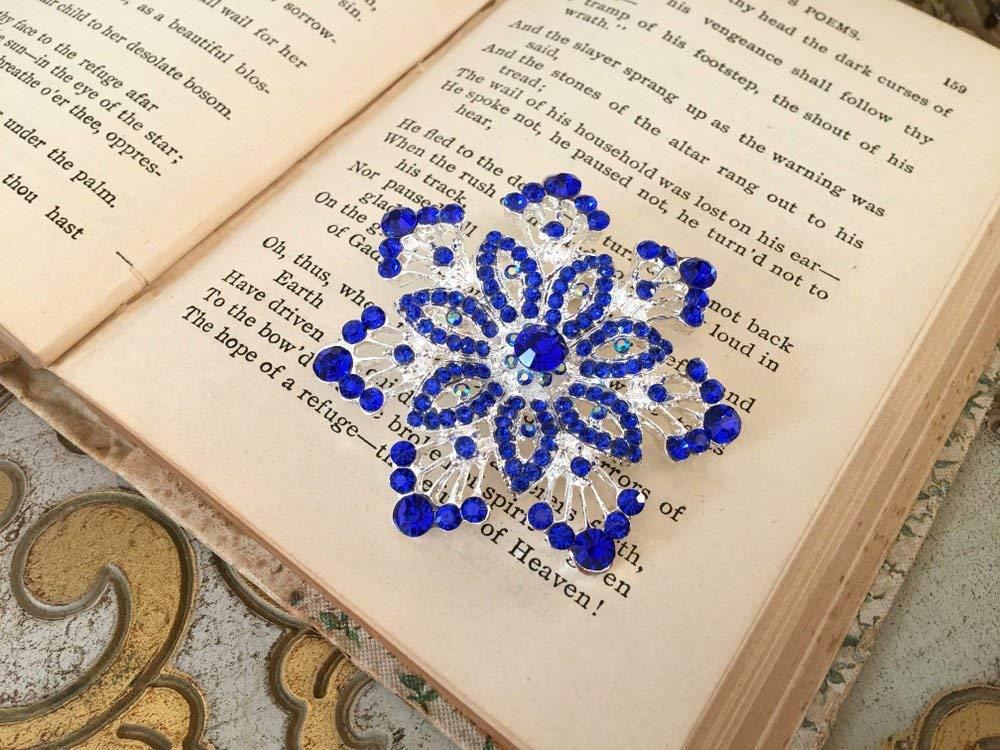 Snowflake Brooch.Blue Snowflake Brooch.Snowflake Rhinestone Brooch.Blue Snowflake pin.Blue snowflake broach.silver blue snowflake.royal blue