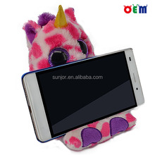 Colorful custom decorative unicorn plush toy cell phone holder