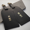 Custom Mr and Mrs gold stamping logo black PU luggage tag