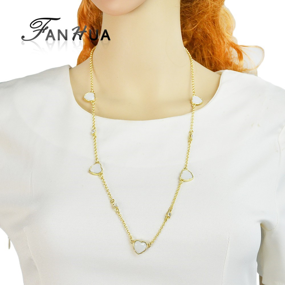 Gold Plated Long Chain Necklace with Rhinestone Heart Charms