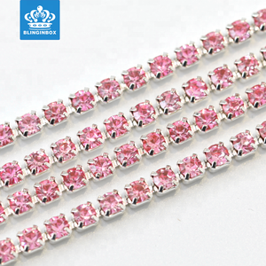 Pink Color Rhinestone Cup Chain With Silver Base Rhinestone Trimming For Garment Accessories