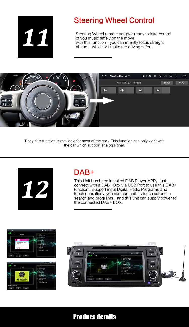 Android5.1.1 quad-core RK PX3 1.6GHz 7inch 1din special car DVD player for BMW E46/M3 with OBD,DAB,WIFI,Mirror-Link,etc DU7062