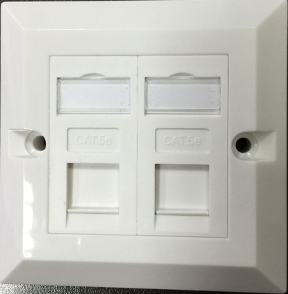 cat5 cat6 face panel 2 port flat networking faceplate with rj 45 network modules