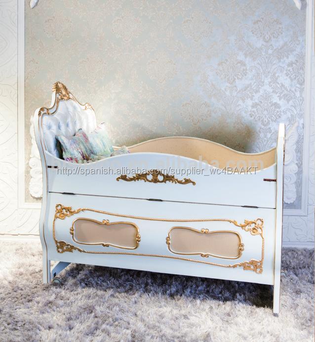 Lujo estilo europeo marco de madera maciza cama portátil, muebles de ...