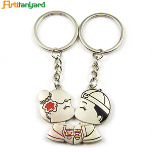 Wholesale Small Key Chain Ring Custom Logo Heart Shape Kissing Couple Metal Keychain