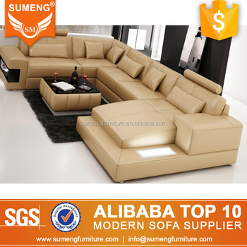 Hot German Style Living Room Furniture Leather Led Light Sectional Sofa With Storage