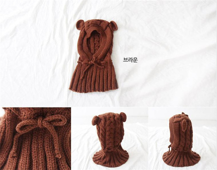 Kids Winter Lovely Warm Scarf Shawl Cape Knit Earflap Hat Cap Hooded Cloak
